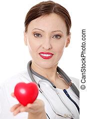 心, 成長した, 彼女, 医者, 手。, 女性