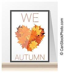 心, 我们, 做, 爱, 色彩丰富, 离开, 秋季, 形状, 艺术品, 枫树