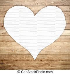 心, 手ざわり, ノートペーパー, 上に, ブラウン, 木, 板, 背景