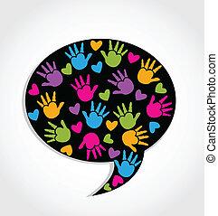 心, 手, スピーチ, ロゴ