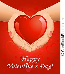 心, 手, 日, 背景, バレンタイン