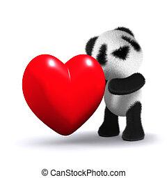 心, 抱き締める, パンダ, 3d