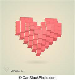 心, 抽象的, ピクセル