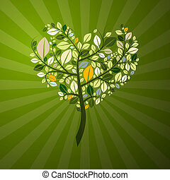 心, 抽象的, 木, 形づくられた