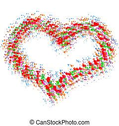 心, 抽象的, 白, 隔離された, カラフルである