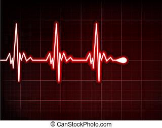 心, 抽象的, cardiogram., eps, 打つ, 8
