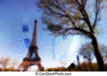 心, 拖拉, eiffel, 多雨, 巴黎, 法国, 玻璃, 潮湿, 塔, 天