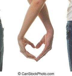 心, 提示, 愛, day.valentine, 恋人, バレンタイン, バレンタイン, day., ∥(彼・それ)ら∥, fingers., concept.