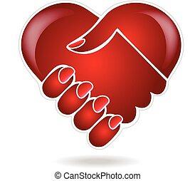 心, 握手, 愛, イメージ, ベクトル, ロゴ