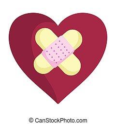 心, 援助, 悲しい, 包帯, 愛, 日, バレンタイン, 幸せ