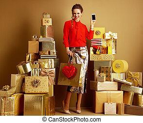 心, 携帯電話, 買い物, fashion-monger, 提示, 袋, 赤
