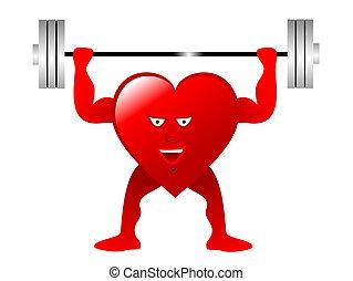 心, 数字, 健康, ウエイト, 赤, 持ち上がること, 描写, 漫画, 練習
