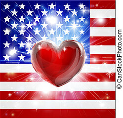 心, 旗, アメリカ, 愛, 背景