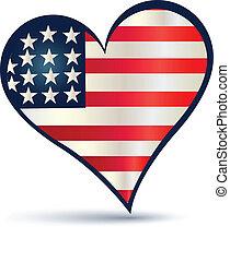 心, 旗, ベクトル, アメリカ, ロゴ