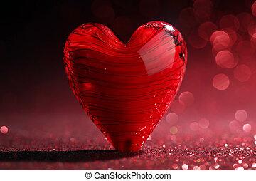 心, 晴朗, 紅的背景