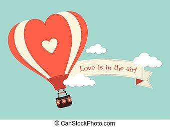 心, 暑い, 形づくられた, balloon, 空気