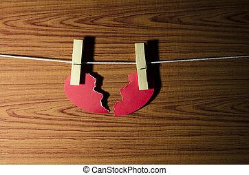 心, 木頭, 紅的背景, 打破
