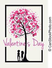 心, 木, カード, テンプレート, バレンタイン