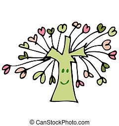 心, 木, 図画