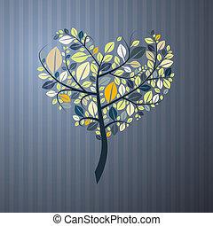 心, 木, 抽象的, ペーパー, 背景, 形づくられた
