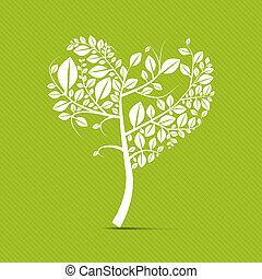 心, 木, 抽象的, 形づくられた, ベクトル, 白