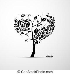 心, 木, 抽象的, 背景, 形づくられた, 灰色