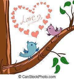 心, 木, 鳥, 2, バレンタイン