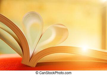 心, 本, 柔らかい, pages., フォーカス