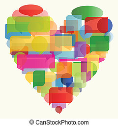 心, 概念, カラフルである, イラスト, ベクトル, スピーチ, 背景, 泡, 作られた