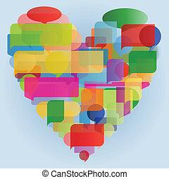 心, 概念, カラフルである, イラスト, 作られた, スピーチ, 泡