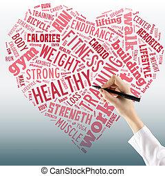 心, 概念, ライフスタイル, f, 健康, 単語, collage., -, ぐっと近づいて