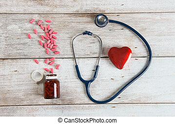 心, 概念, 写真, 聴診器, 健康