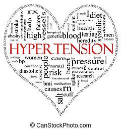 心, 概念, 単語, 形づくられた, 高血圧, 赤い黒字, 雲