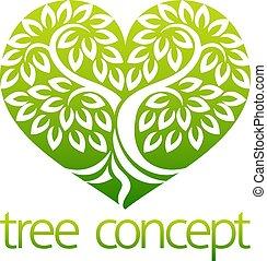 心, 概念, 木, 形づくられた, アイコン
