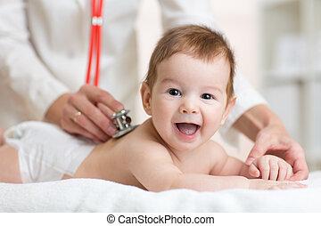 心, 檢查, 醫生, 檢查, 打, 聽診器, 儿科醫生, 嬰孩