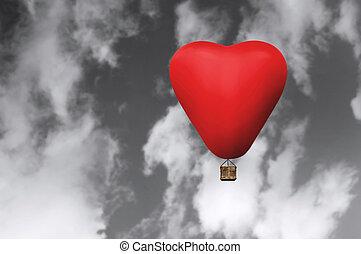 心, 毛, 暑い, balloon, 赤, 形