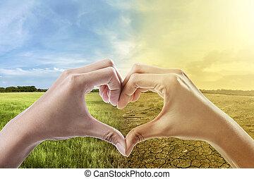 心, 気候, 背景, に対して, 形, 人間の術中, 変化しなさい