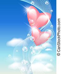 心, 氣泡, 天空
