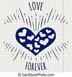 心, 永久に, 愛, ペン, ポスター
