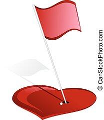 心, 洞, 高爾夫球