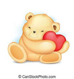 心, 熊, テディ