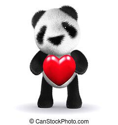 心, 熊, 抱擁, 赤ん坊, パンダ, 3d