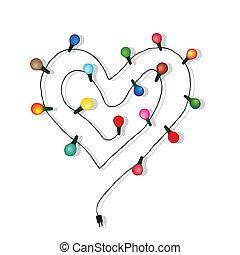 心, 爱, vecto, 光, 婚礼, 灯泡