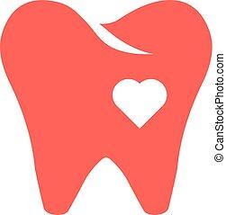 心, 牙齿, 红, 图标