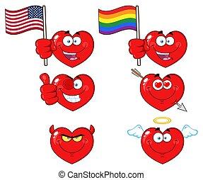 心, 特徴, コレクション, 顔, 3., 漫画, 赤, emoji