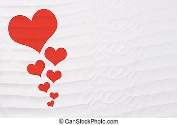 心, 生地, バレンタイン, テキスト, 細部, リンネル, 背景, 置かれた, 日