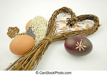 心, 生活, シルエット, ヤナギ, 卵, 隔離された, 背景, 白, まだ, イースター, 鳥