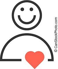 心, 用户, 红, 图标