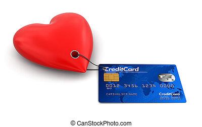 心, 由于, 信用卡