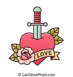 心, 由于, 匕首, 紋身